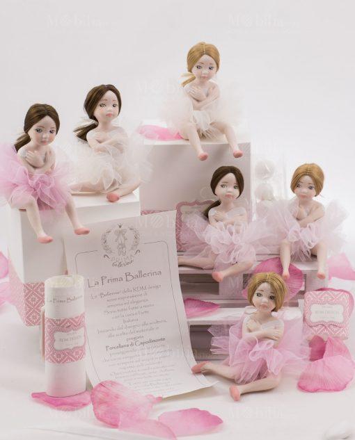 bamboline piccole porcellana capodimonte con certificato autenticità linea prima ballerina rdm design