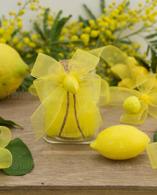 barattolo vetro con tappo suchero con saponetta gialla limone