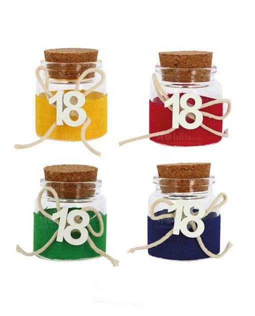 barattolo vetro con tappo sughero con numero diciotto per diciottesimo giallo verde rosso e blu
