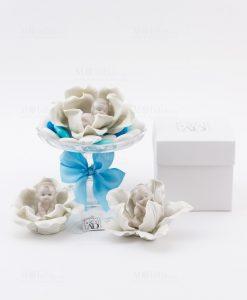 bimbo che dorme porcellana vari modelli linea baby flower con scatola ad emozioni