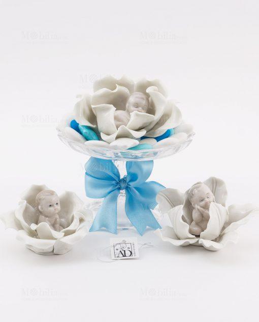 bimbo su fiore porcellana 3 modelli assortiti linea baby flower ad emozioni