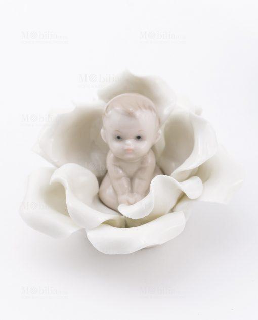 bimbo su fiore seduto porcellana linea baby flower ad emozioni