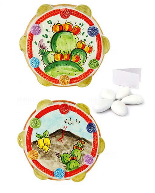 bomboniera applicazioni tamburelli ceramica decori assortiti