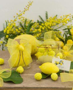 bomboniera barattolo vetro tappo sughero con saponetta gialla limone