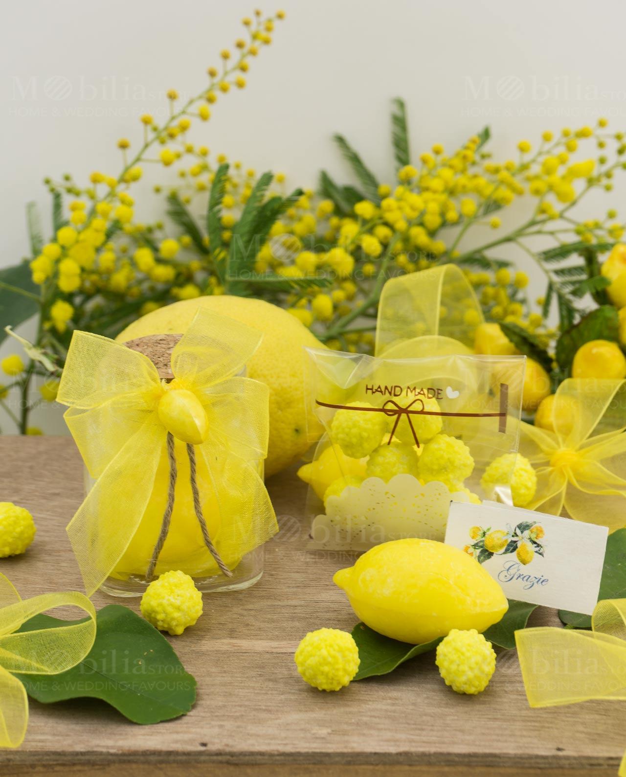 Bomboniere Matrimonio Gialle.Bomboniera Barattolo Vetro Con Saponetta A Forma Di Limone