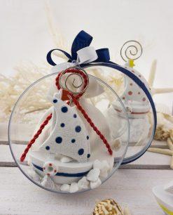 bomboniera barchetta a vela portamemo su sacchetto bianco con corda rossa dentro palla
