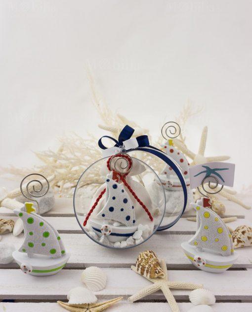 bomboniera barchetta portafoto con sacchetto bianco dentro palla sfera