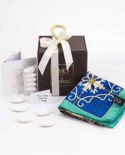 bomboniera basic foulard blu azzurro e giallo con certificato di autenticità art collection linea azalejos emò italia