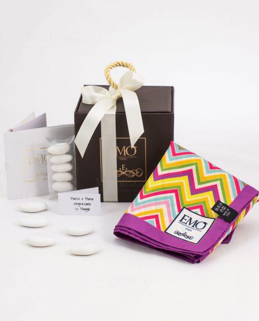 bomboniera basic foulard con bordino viola con certificato autenticità art collection linea optical emò italia
