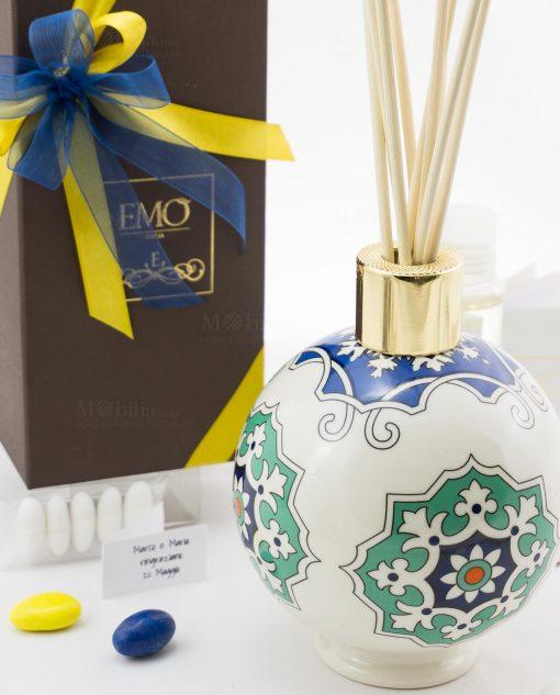 bomboniera basic profumatore sfera con bastoncini e profumo art collection linea azulejos emò