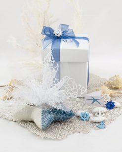 bomboniera basic svuotatasche conchiglia piccola con sacchetto e scatola linea oceano ad emozioni