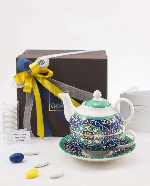 bomboniera basic teiera con piattino e tazza art collection linea azulejos emò