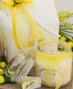 bomboniera candela barattolo vetro con nastro giallo organza