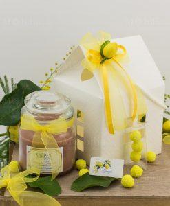 bomboniera candela barattolo vetro con scatola cartoncino casetta con applicazione limone