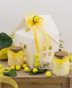 bomboniera candela profumata con scatola cartoncino casetta con applicazione limone