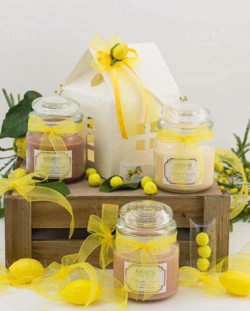 bomboniera candela vari colori con scatola casetta cartoncino con applicazione limone