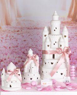 bomboniera castello led porcellana bianca con cuori varie misure linea princess ad emozioni