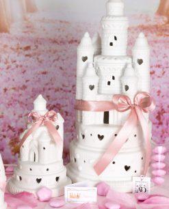 bomboniera castello led porcellana con nastro rosa e fiocco linea princess ad emozioni