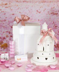 bomboniera castello led porcellana medio con scatola doppio fiocco rosa confetti rosa stelline linea princess ad emozioni