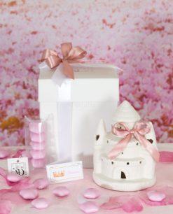 bomboniera castello led porcellana piccolo con scatola doppio fiocco rosa confetti rosa stelline linea princess ad emozioni
