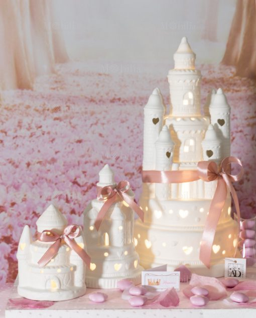 bomboniera castello porcellana led con fiocco nastro rosa linea princess ad emozioni