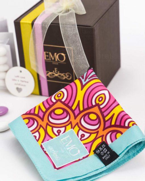 bomboniera con doppi nastri e targhetta foulard celeste e rosa art collection linea kaleidos emò italia