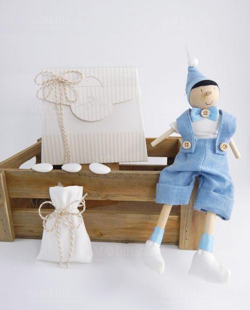 bomboniera con sacchetto pinocchio legno artigianale con cappello e papillon azzurro cherry and peach