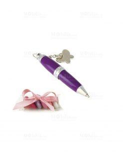 bomboniera con tubicino mini penna viola con ciondolo farfalla