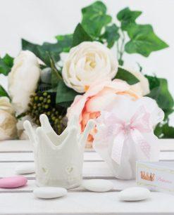 bomboniera corona con nastro a pois rosa con sacchetto e bigliettino linfinito