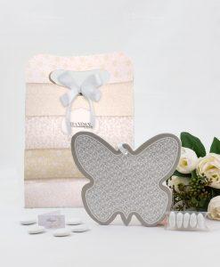 bomboniera farfalla ricciolo ceramica con bag brandani