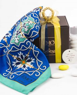 bomboniera foulard con nastri e targhetta art collection linea azalejos emò italia