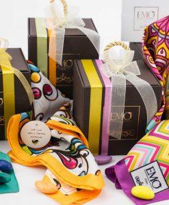 bomboniera foulard con scatola e nastri art collection emò