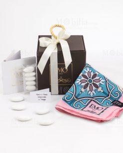 bomboniera foulard linea maiolica emò con scatola e nastro bianco