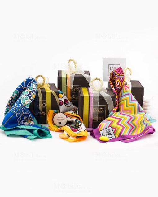 bomboniera foulard vari colori e decori art collection emò
