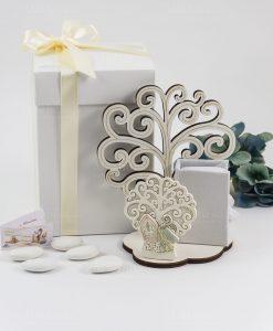 bomboniera icona albero della vita con bastone e cappello papale con scatolina portaconfetti