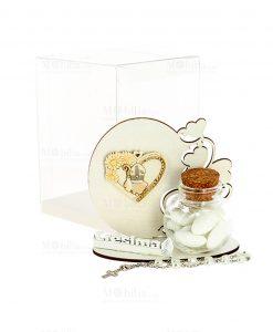 bomboniera icona con cappello papale cuore e fiori con scatolina portaconfetti vetro con tappo in sughero e scatola trasparente pvc