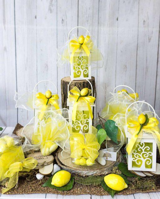 bomboniera lanterna albero della vita con limoncino scatolina pvc nastro giallo