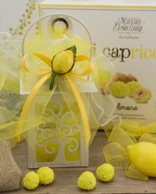 bomboniera lanterna albero della vita con saponetta limone e applicazione limone con nastro giallo