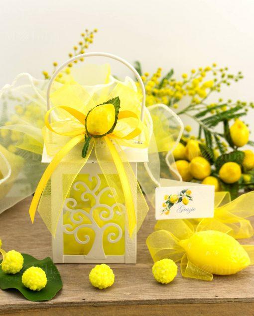 bomboniera lanterna bianca albero della vita led con sapone limone