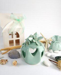 bomboniera lanterna marina piccola porcellana capidomonte con fiore e stella e scatola linea caribe cherry and peach