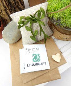 bomboniera legambiente cuscino portaconfetti bustina carta con semi