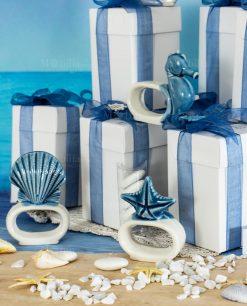 bomboniera legatovagliolo bianco e blu ceramica linea oceano ad emozioni
