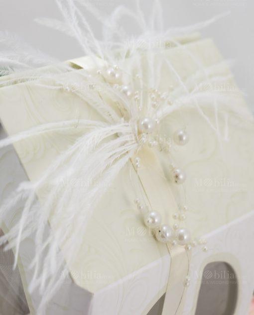 bomboniera lusso corona con casetta con piume linfinito