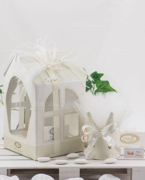 bomboniera lusso corona con scatola cartoncino casetta linfinito