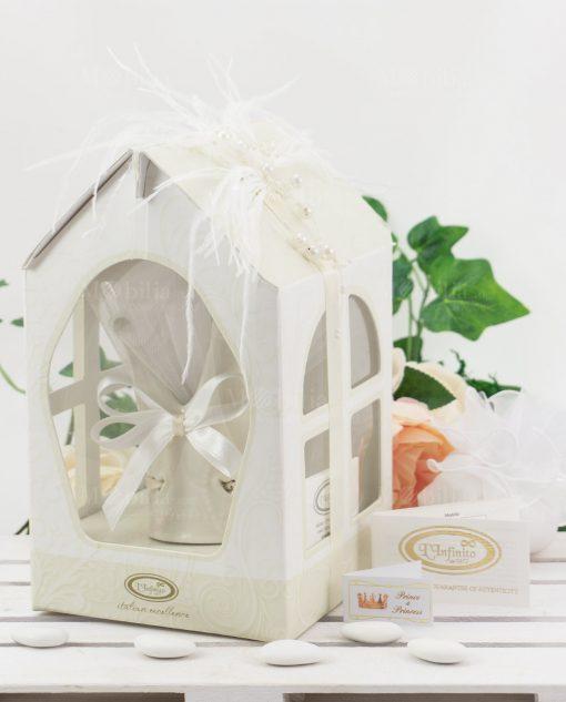 bomboniera lusso corona dentro scatola casetta cartoncino linfinito