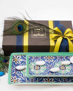 bomboniera lusso svuotatasche grande e piccolo con piuma pavone con doppi nastri art collection linea azulejos