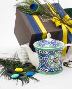 bomboniera lusso teiera art collection linea azulejos con tubicino e scatola con doppi nastri emò