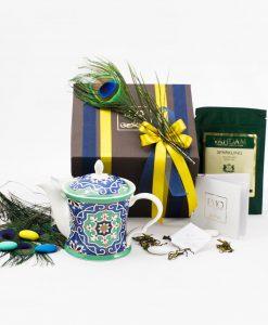 bomboniera lusso teiera art collection linea azulejos scatola doppi natri piuma pavone e bustina infuso emò