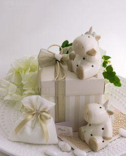 bomboniera lusso unicorno due modelli sacchetto bainco scatola a righe