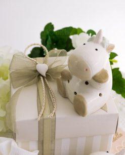bomboniera lusso unicorno porcellana con scatola a righe